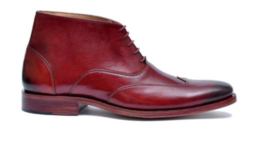 IBEX-Markhor-Handmade-HandCrafted-Men Leather Shoes-WingTip Oxford-GoodYear Welted-Burgundy Boots