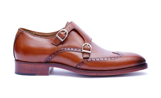 Handmade-HandCrafted-Men-Leather-GoodYear-Welted-Double-Monk-Wingtip-Versatile Leather Shoes