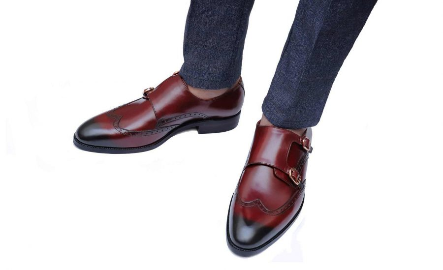 Handmade-HandCrafted-Men-Leather-GoodYear-Welted-Double-Monk-Wingtip-Versatile Dress Shoes