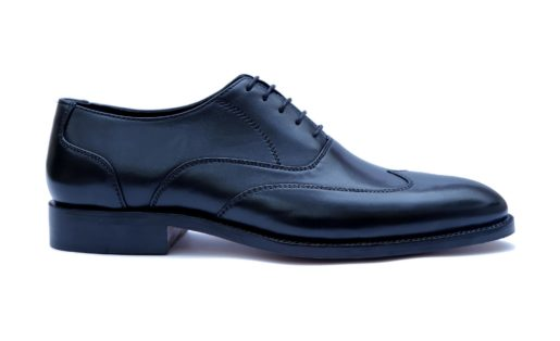 Handmade-HandCrafted-Men-Leather-GoodYear-Welted-Wingtip-Black Dress Shoes